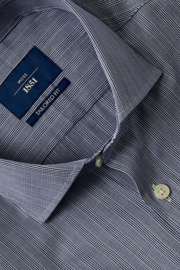 Tailored Fit Navy Check Shirt