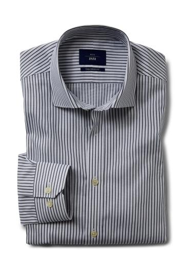Moss 1851 Tailored Fit Blue Single Cuff Stripe Shirt