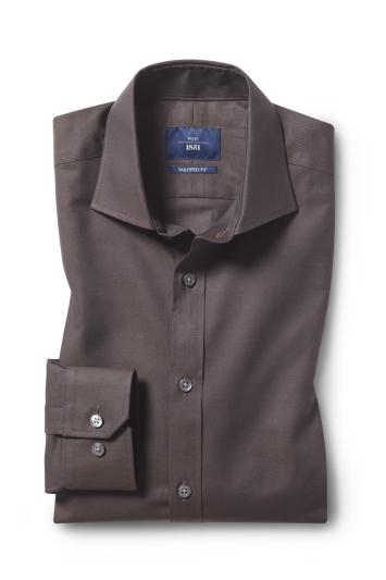 Moss 1851 Tailored Fit Chocolate Single Cuff Twill Shirt