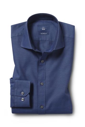 Moss 1851 Tailored Fit Blue Single Cuff Twill Shirt