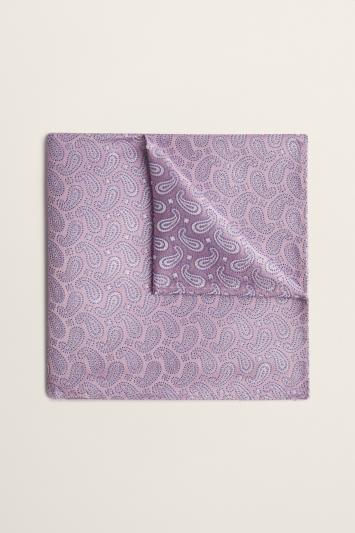 Moss 1851 Pink Small Paisley Silk Pocket Square