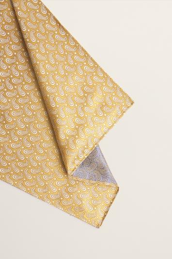 Moss 1851 Yellow Small Paisley Silk Pocket Square