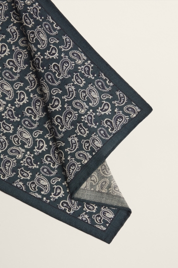 Moss 1851 Green with Navy Paisley Print Wool Pocket Square