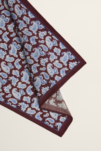 Moss 1851 Burgundy with Blue Paisley Print Wool Pocket Square