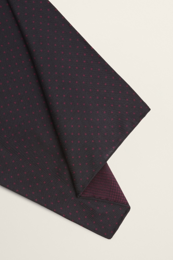 Moss 1851 Navy with Magenta Pindot/Prince of Wales Check Print Double-Sided Wool Pocket Square