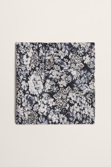 Moss 1851 Black & White Floral Print Cotton Pocket Square