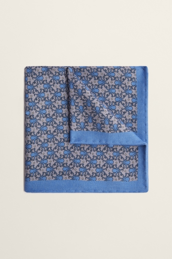 Moss 1851 Silver with Blue Octopus Print Wool Pocket Square
