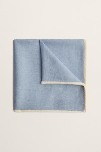 Moss 1851 Sky Plain Silk/Wool Pocket Square