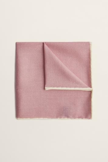 Moss 1851 Dusty Pink Plain Silk/Wool Pocket Square