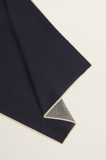 Moss 1851 Navy Plain Silk/Wool Pocket Square