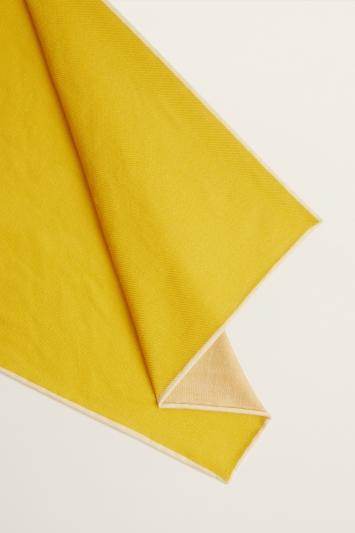 Moss 1851 Yellow Plain Silk/Wool Pocket Square