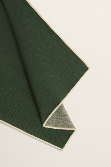 Moss 1851 British Racing Green Plain Silk/Wool Pocket Square