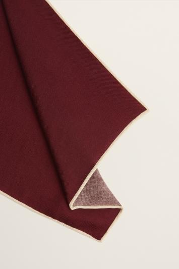 Moss 1851 Burgundy Plain Silk/Wool Pocket Square