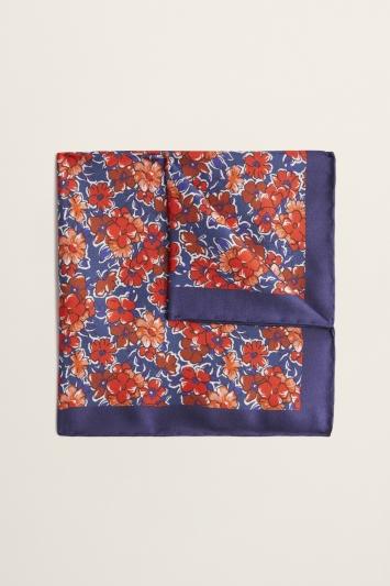 Moss 1851 Navy & Orange Flower Print Silk Pocket Square