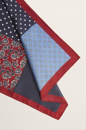 Moss 1851 Blue & Red Four Quarter Print Silk Pocket Square
