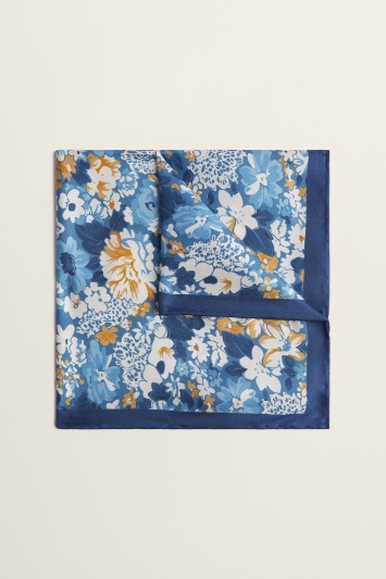 Moss 1851 Blue with Mustard Floral Print Silk Pocket Square