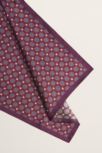 Moss 1851 Purple Medallion Print Silk Oxford Pocket Square