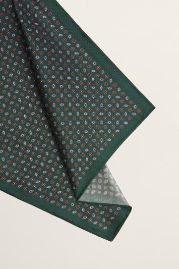Moss 1851 British Racing Green Geo Print Silk Oxford Pocket Square