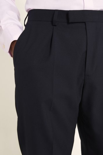 Moss 1851 Regular Fit Machine Washable Navy Single Pleat Front Trousers with Stretch