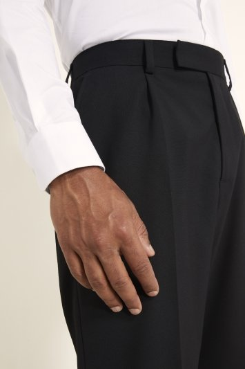 Moss 1851 Regular Fit Machine Washable Black Single Pleat Front Trousers with Stretch