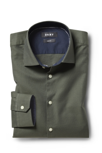 DKNY Slim Fit Green Single Cuff Oxford Shirt