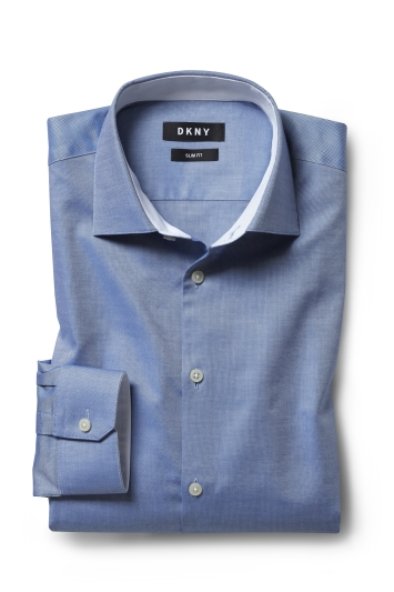 DKNY Slim Fit Blue Single Cuff Oxford Shirt