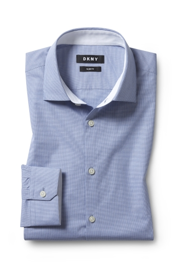 DKNY Slim Fit Blue Single Cuff Mini Check Shirt
