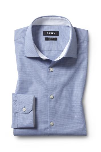 Slim Fit Blue Mini Check Shirt