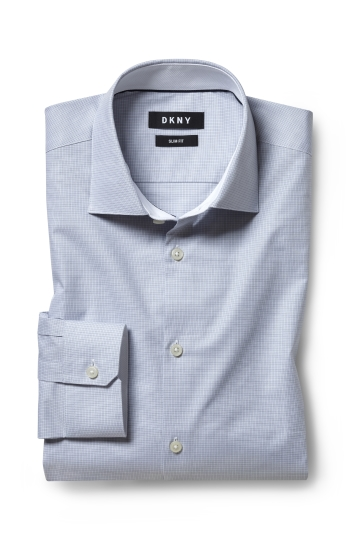 DKNY Slim Fit Grey Single Cuff Mini Check Shirt