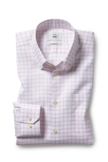 Tailored Fit Pink Twill Check Zero Iron Shirt