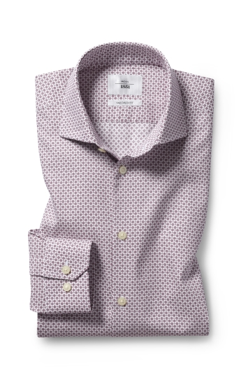 Tailored Fit Red Single Cuff Geometric Print Zero Iron Shirt