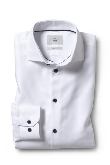 Moss 1851 Slim Fit White Single Cuff Performance Oxford Zero Iron Shirt