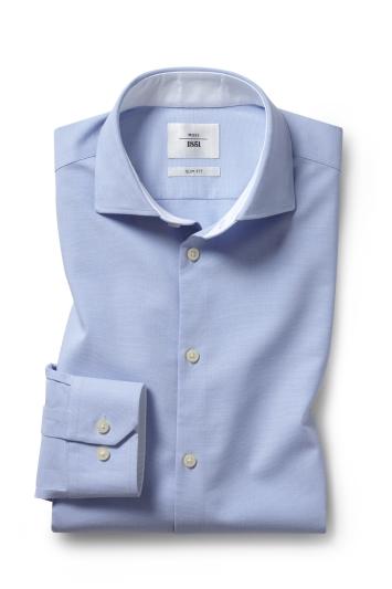 Moss 1851 Slim Fit Sky Single Cuff Performance Oxford Zero Iron Shirt