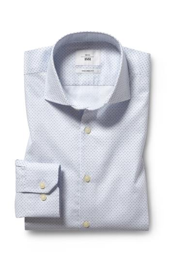 Moss 1851 Tailored Fit Sky Single Cuff Printed Zero Iron Shirt