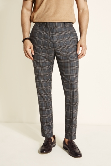 Moss London Slim Fit Grey & Rust Check Trouser