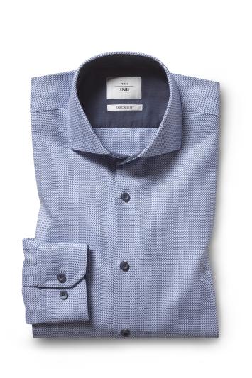 Moss 1851 Tailored Fit Blue Single Cuff Dobby Contrast Zero Iron Shirt