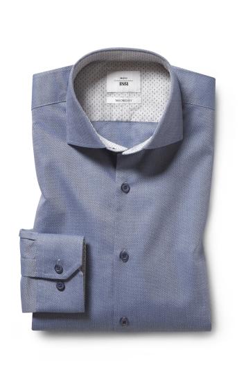 Moss 1851 Regular Fit Blue Single Cuff Textured Print Contrast Zero Iron Shirt