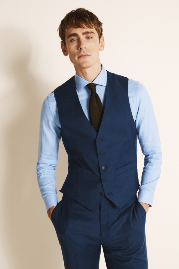 Moss 1851 Tailored Fit Plain Blue Wool Flannel Stretch Jacket