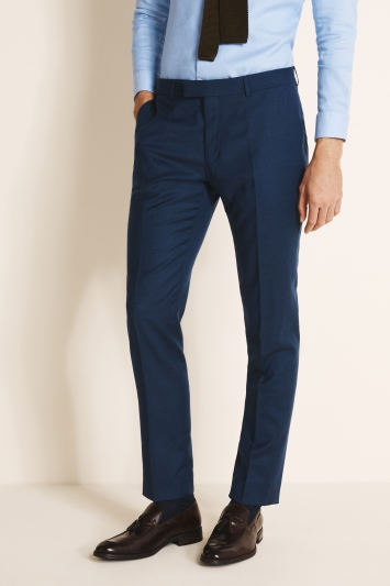 Moss 1851 Tailored Fit Plain Blue Wool Flannel Stretch Trousers