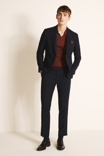 Tailored Fit Navy Brown Flannel Jacket