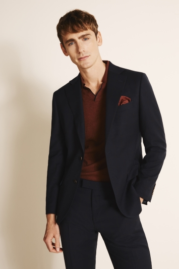 Moss 1851 Tailored Fit Navy & Brown Wool Flannel Stretch Jacket