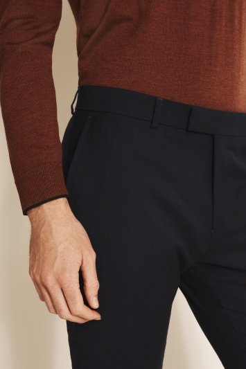 Tailored Fit Navy Brown Flannel Trousers