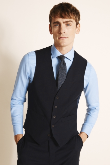 Tailored Fit Navy Brown Flannel Waistcoat