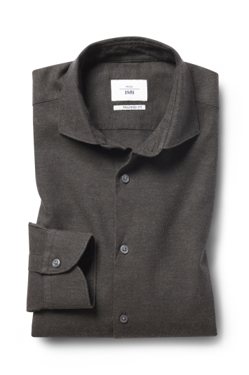 Moss 1851 Tailored Fit Brown Single Cuff Brushed Cotton Shirt