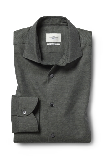 Moss 1851 Tailored Fit Green Single Cuff Brushed Cotton Shirt