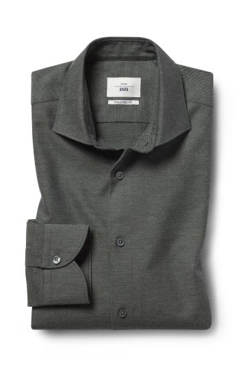Moss 1851 Tailored Fit Green Single Cuff Brushed Cotton Shirt