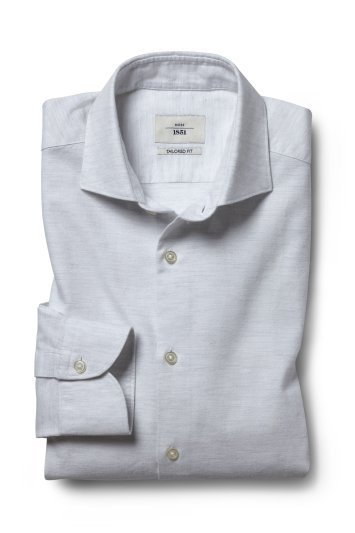 Moss 1851 Tailored Fit Grey Single Cuff Brushed Cotton Shirt