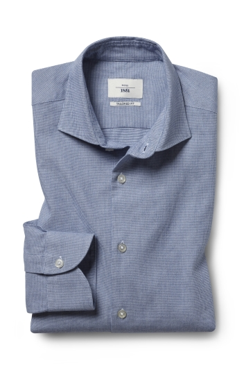 Moss 1851 Tailored Fit Blue Single Cuff Brushed Puppytooth Shirt