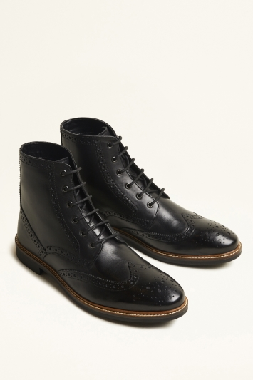 Moss London Belmont Black Brogue Boot