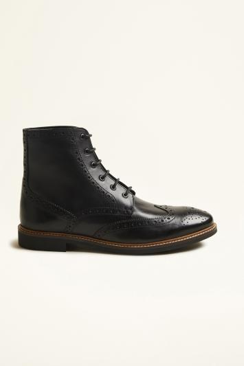 Moss London Belmont Black Brogue Boot